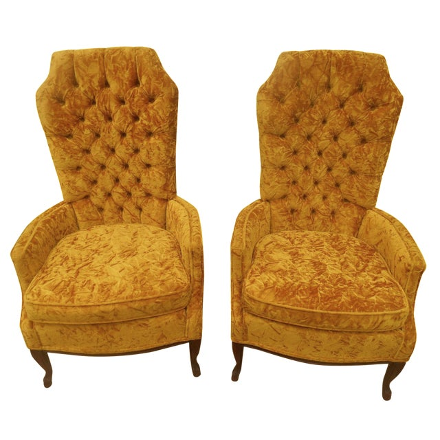 Hollywood Regency High Back Tufted Chairs - A Pair - Image 1 of 8