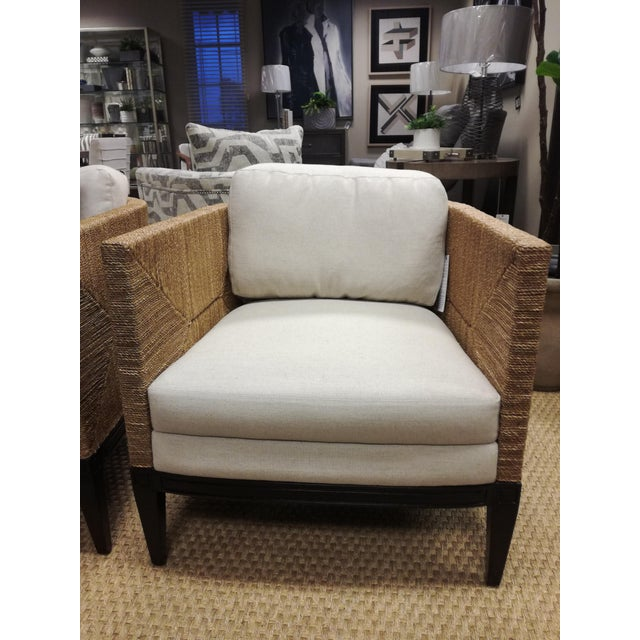 Hardwood frame and legs in dark espresso finish with double wall back and sides of woven natural seagrass rope creating a...