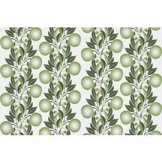 Orange Blossom Stripe Sage Sugar Swizzle Linen Cotton Fabric 3yds For Sale