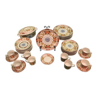 Georges Briard Peony Authentic Reproduction of 19th Century Japanese Porcelain - Set of 39 For Sale