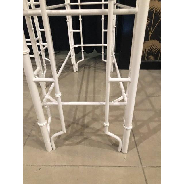 Metal Vintage Chinese Chippendale Newly White Powder-Coated Faux Bamboo Pagoda Metal Shelves Etageres -A Pair For Sale - Image 7 of 13