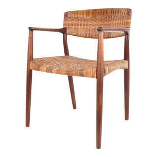 Teak and Cane Armchair by Larsen and Madsen For Sale
