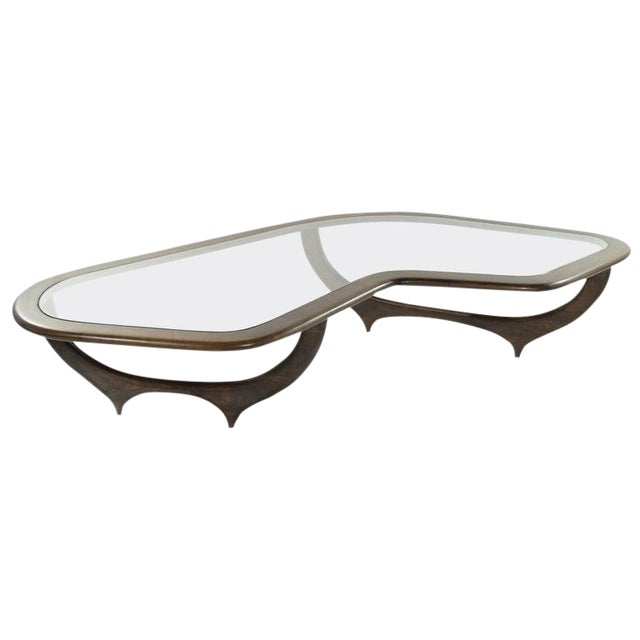Large Scale Sculptural Walnut Coffee Table, Italy, 1950s For Sale