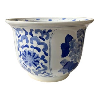 Vintage Blue and White Asian Planter For Sale