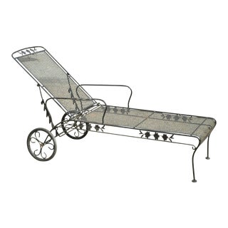 Vintage Woodard Wrought Iron Adjustable Black Patio Garden Chaise Lounge Chair For Sale