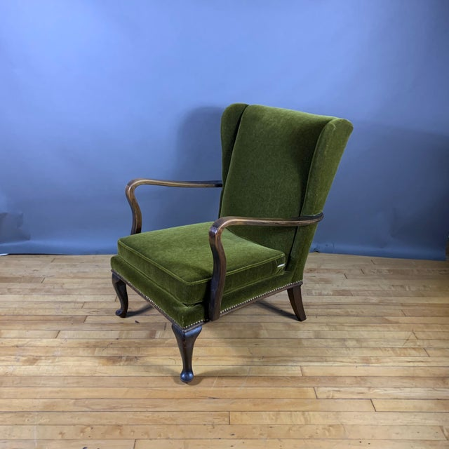 Green 1950s Walter Knoll Mini Wingchair, Mohair, Germany For Sale - Image 8 of 12