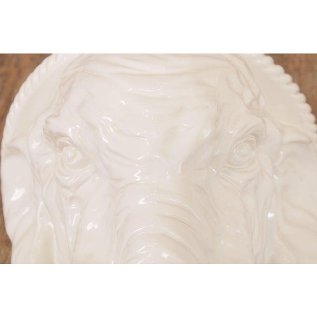 Hollywood Regency Vintage Italian Ceramic Pair White Elephant Wall Shelves For Sale - Image 11 of 13