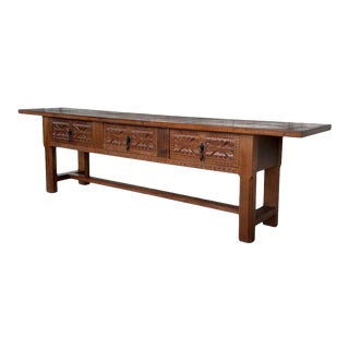 20th Century Large Spanish Baroque Style Carved Walnut Refectory Table For Sale