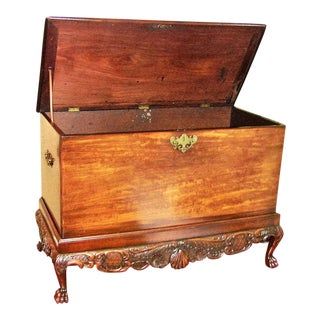 18c Irish George II Mahogany Silver Chest on Amazing Carved Stand For Sale