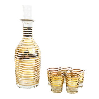 Mid Century Gold Striped Glass Decanter Set For Sale