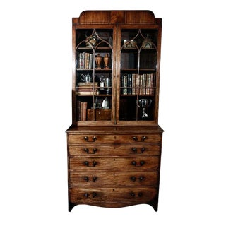 1840s English Mahogany Secretary Bookcase For Sale