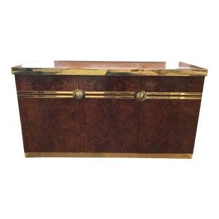 Vintage Pierre Cardin Burlwood & Brass Bar