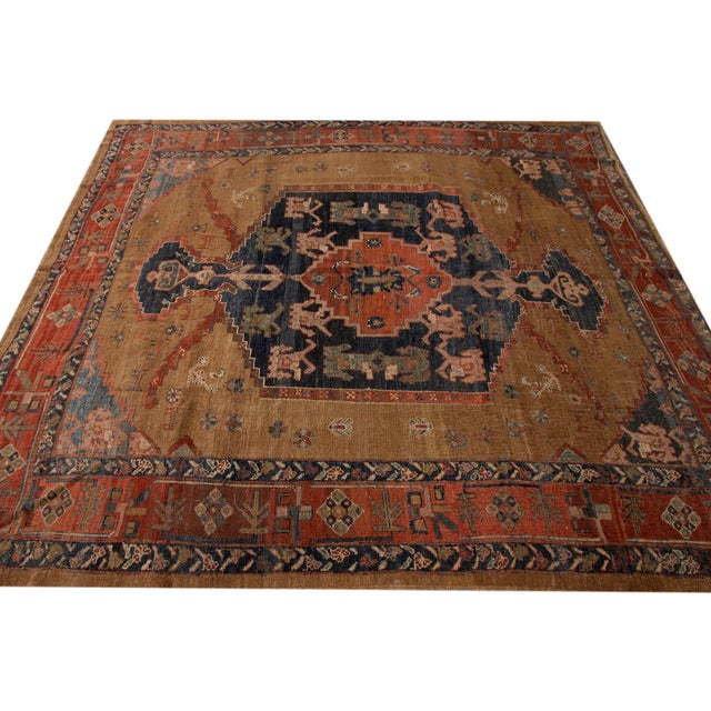 "Late 20th Century Vintage Persian Tribal Bakshaish Rug, 8'0"" X 9'6"" For Sale - Image 5 of 12"