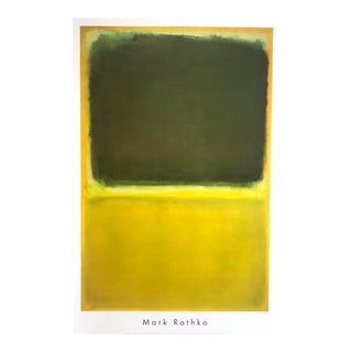 "Mark Rothko Abstract Expressionist Lithograph Print Poster "" Green & Yellow "" 1951 For Sale"