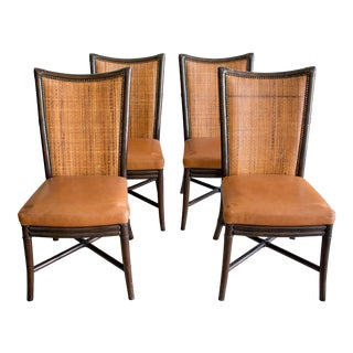 Vintage Style Palecek Rattan and Leather Dining Chairs- Set of 4 For Sale