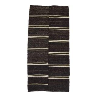 "Vintage White Striped Black Kilim Rug - 5' x 10'7"" For Sale"