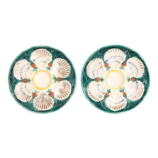 Antique English Majolica Oyster Plates - a Pair For Sale