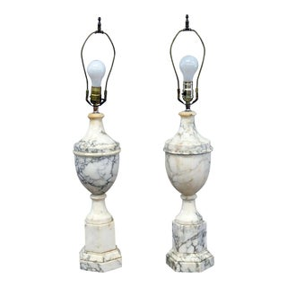 Early 20th Century Neoclassical Style Marble Table Lamps - a Pair For Sale
