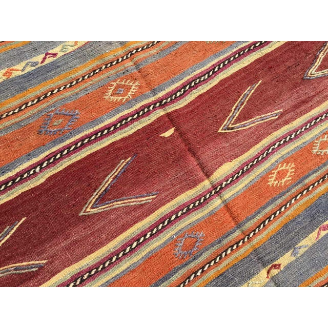 Textile Striped Soft Colored Turkish Kilim Rug For Sale - Image 7 of 9