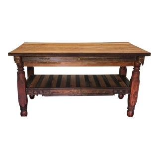 Rustic Reclaimed Oak Kitchen Island With Hand Carving For Sale
