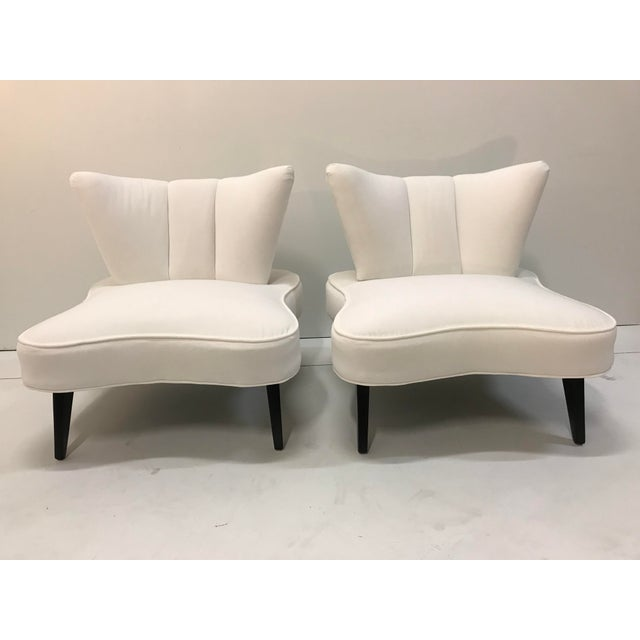 20th Century Pair Sculptural Art Deco Slipper Arm Less Chairs Attributed to Grosfeld House For Sale - Image 12 of 12