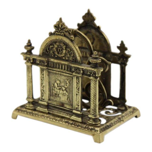 Renaissance Revival Double Brass Letter Rack With Carrying Handle For Sale