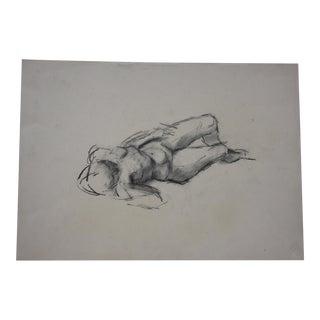 Vintage Reclining Nude Pencil Graphite Drawing #1 Artist Julianne Darrow Humar (1926-2018) For Sale