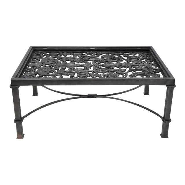 19th Century French Balcony Polished Iron Coffee Table Base For Sale