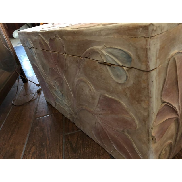 Vintage Mahogany carved painted chest. 20th Century chest for blankets or as a table. Beautifully carved the lid and side...