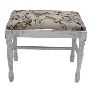Vintage Equestrian Themed Footstool/Bench For Sale