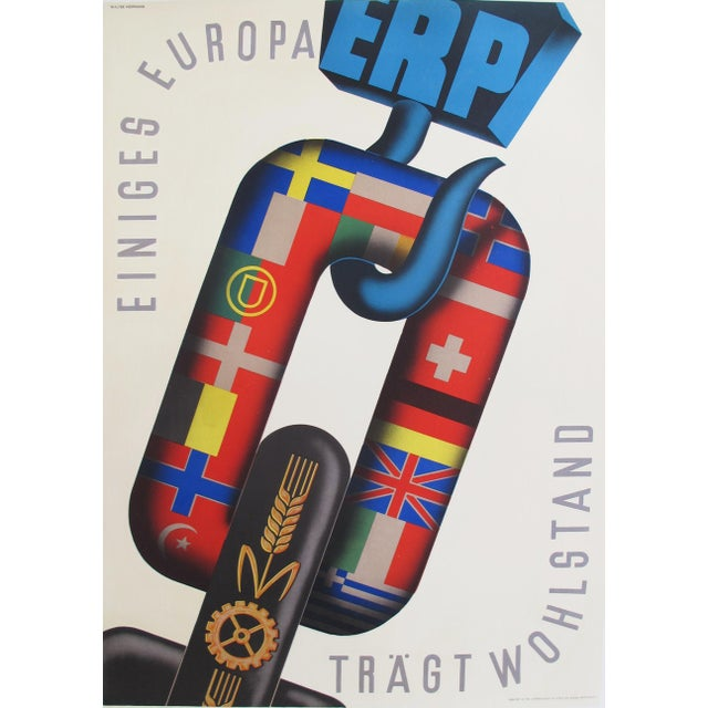 1950 Dutch Marshall Plan Poster, Einiges Europa - Image 5 of 5