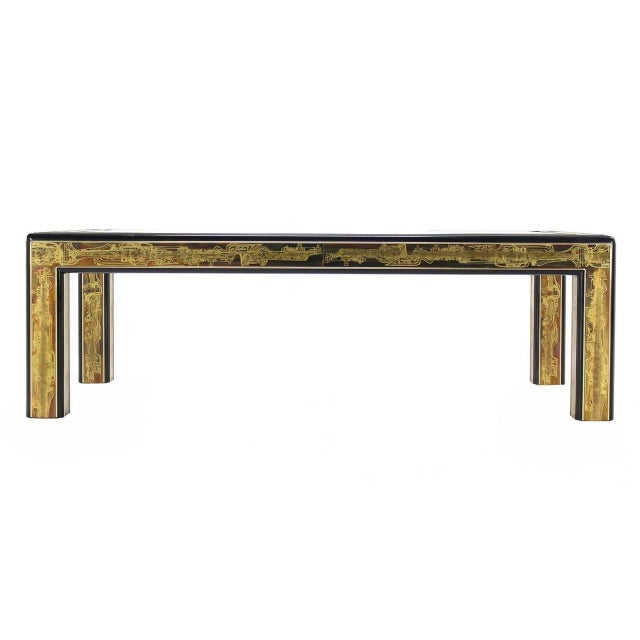 Mid-Century Modern Acid-Etched Brass Coffee Table by Bernhard Rohne for Mastercraft For Sale - Image 3 of 10
