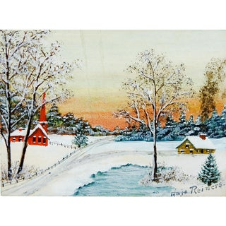 Tiny Snow Covered Church Watercolor Painting For Sale