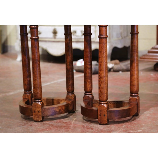 Wood 19th Century Louis XIII Oak Three-Leg Demilune Side Tables - a Pair For Sale - Image 7 of 9