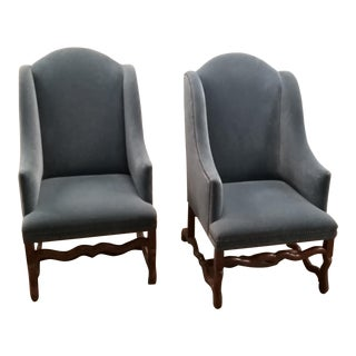 Vintage Os De Mouton Chairs Upholstered in Blue Sapphire Mohair - a Pair For Sale