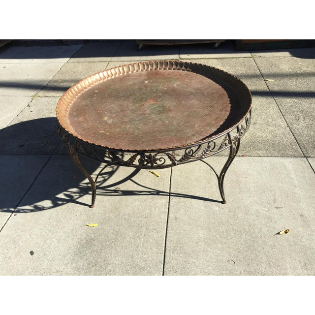 Mid-Century Modern Mid-Century Modern Round Brass Tray Table with Wrought Iron Stand For Sale - Image 3 of 6