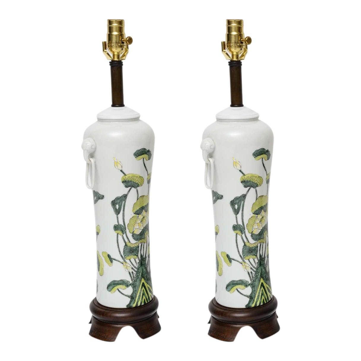 Fine 1960s japanese porcelain lotus flower vase form table lamps fine 1960s japanese porcelain lotus flower vase form table lamps decaso izmirmasajfo