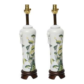 1960s Japanese Porcelain Lotus Flower Vase Form Table Lamps