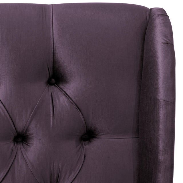 Contemporary Queen Tufted Wingback Bed in Majestic Plum For Sale - Image 3 of 6