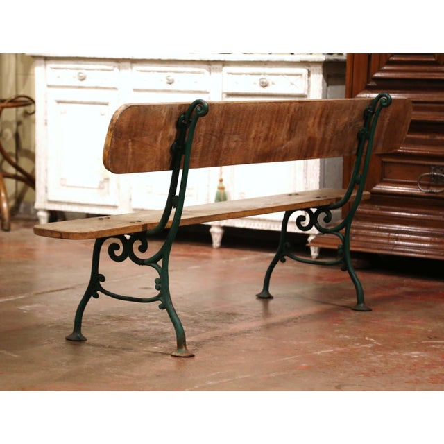 Early 20th Century French Oak and Green Painted Cast Iron Garden Bench For Sale - Image 9 of 12