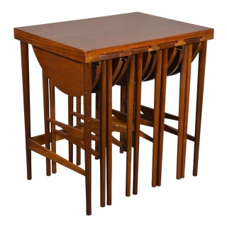 BERTHA SCHAEFER FOR SINGER & SONS SIDE TABLE WITH SET OF FOUR OCCASIONAL TABLES, 1950S For Sale