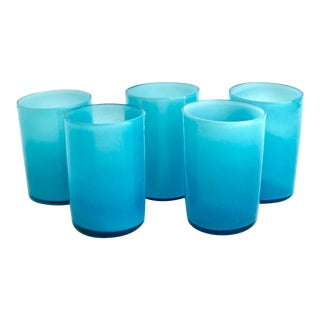 Handblown Opaque Aqua Glasses - Set of 5 For Sale