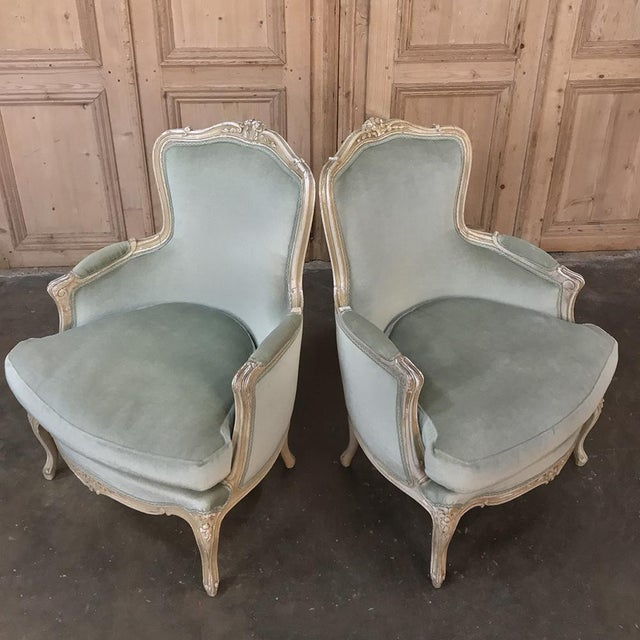 Late 19th Century Pair 19th Century French Louis XV Bergeres ~ Armchairs For Sale - Image 5 of 12