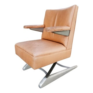 Industrial Design Machine Age Leather Armchair For Sale