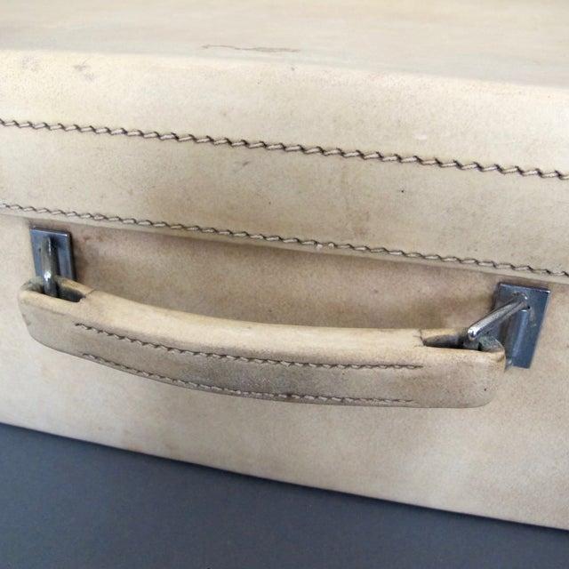 Antique 1920 Cream Vellum Suitcase For Sale - Image 11 of 11