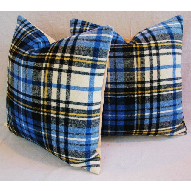 """Vintage Scottish Tartan Plaid Wool Feather/Down Pillows 24"""" Square - Pair For Sale - Image 5 of 11"""