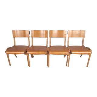 Vintage Modern Bentwood Student Chairs - Set of 4 For Sale