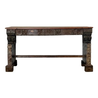 Vintage Indian Carved Desk For Sale