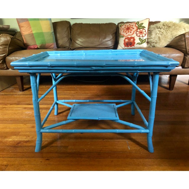 Asian Turquoise Blue Bamboo Rattan Table For Sale - Image 3 of 10