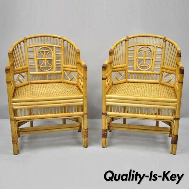 Vintage Brighton Pavilion Style Bamboo & Cane Rattan Arm Chairs - A Pair For Sale - Image 12 of 12